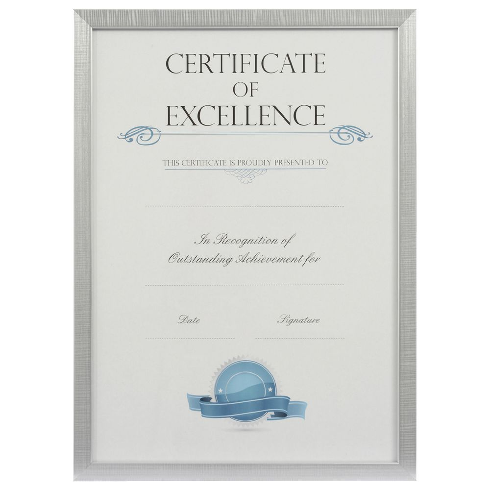 A3 Certificate Frame Brushed Silver Officeworks