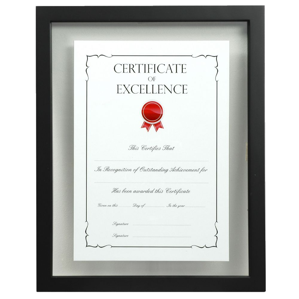 A4 Floating Certificate Frame Black Officeworks