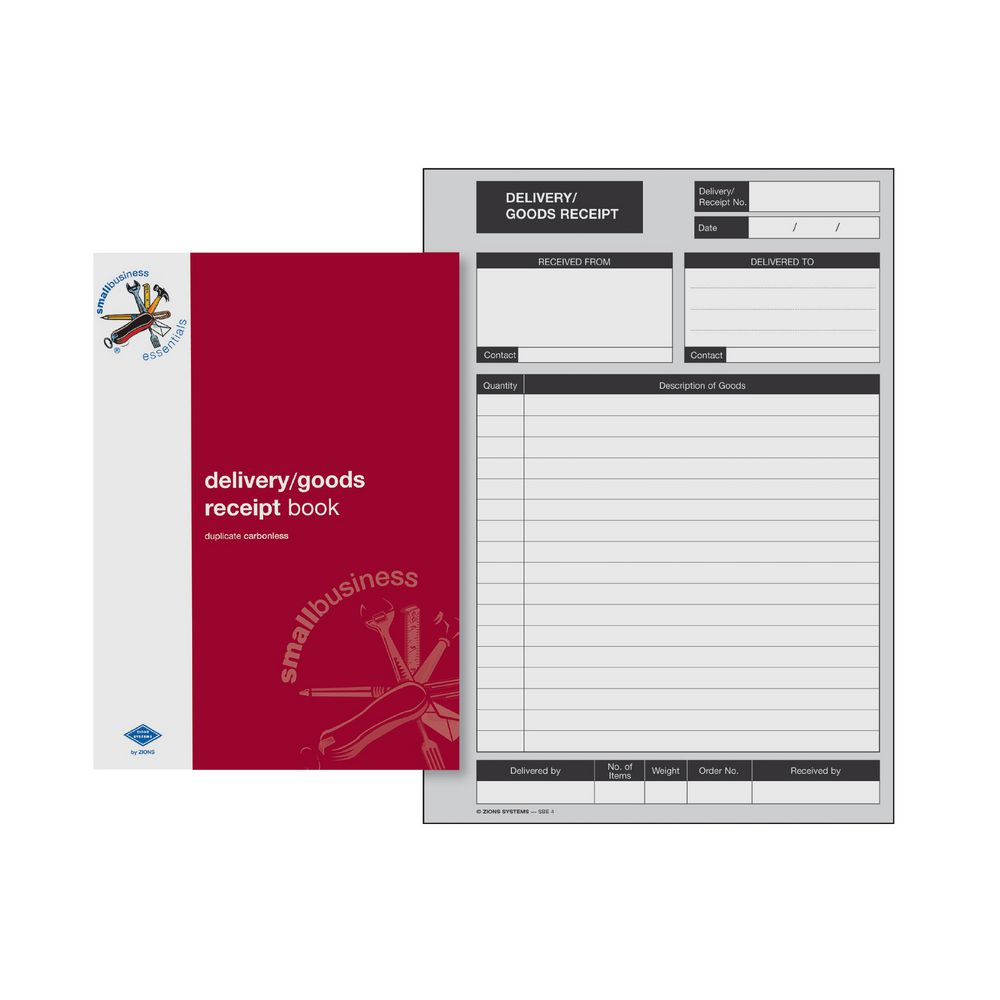 Zions SBE4 A5 Delivery and Goods Receipt Book – Payment Receipt Book
