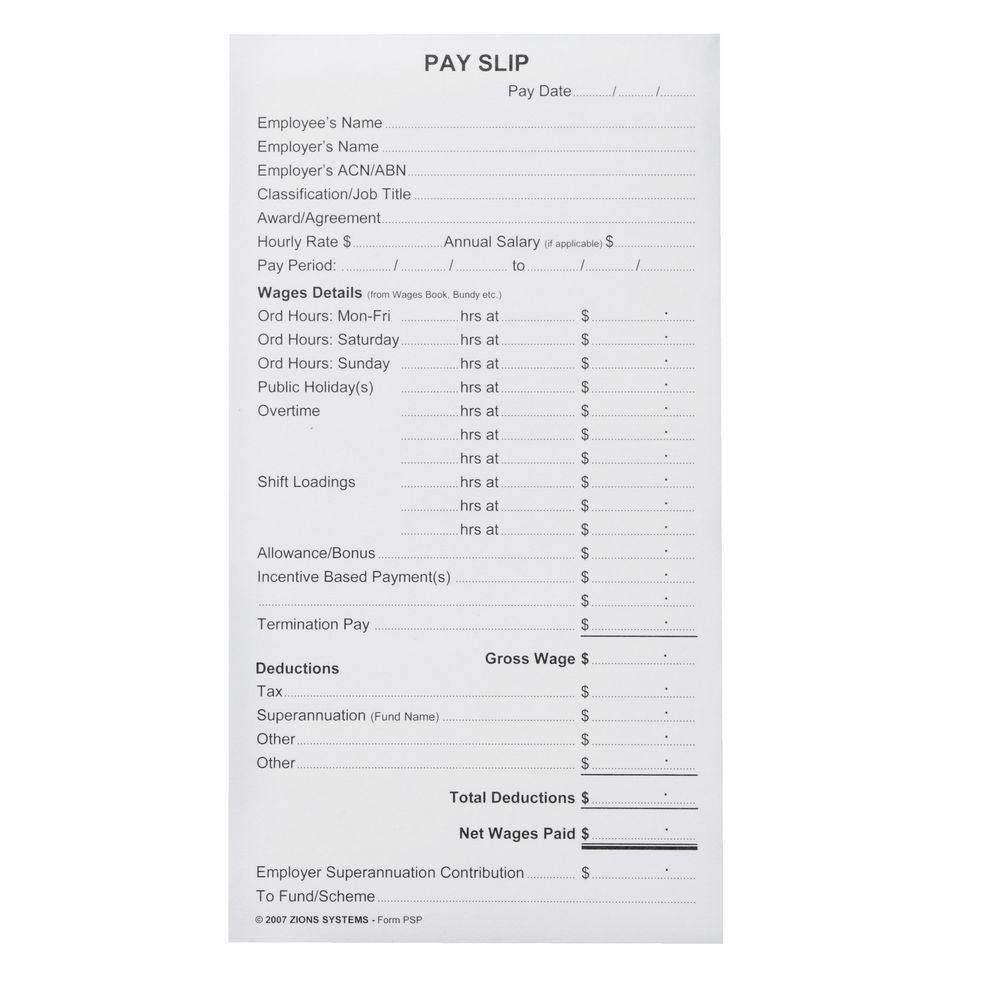 Zions Printed Pay Slip Pads 10 Pack Officeworks