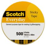 Scotch Everyday 500 Adhesive Tape 18mm x 66m 8 Pack