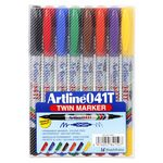 Artline 041T Permanent Dual Nib Marker Assorted 8 Pack