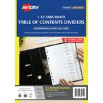 Avery Polypropylene A4 Printed Tabs Dividers 1 -12 White
