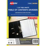 Avery Polypropylene A4 Printed Tabs Dividers 1 -20 White