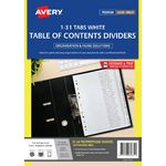 Avery Polypropylene A4 Printed Tabs Dividers 1 -31 White
