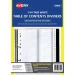 Avery Polypropylene A4 Printed Tabs Dividers 1 -54 White