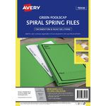 Avery Foolscap Spiral Spring Files Green 5 Pack