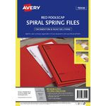 Avery Foolscap Spiral Spring Files Red 5 Pack