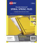 Avery Foolscap Spiral Spring Files Yellow 5 Pack