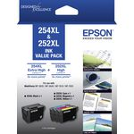 Epson 254XL & 252XL Ink Cartridge Value 4 Pack