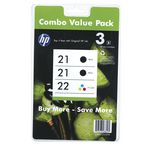 HP 21 and 22 Ink Cartridges Black and Colour 3 Pack