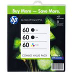 HP 60 Ink Cartridges Black and Colour Combo Value 3 Pack