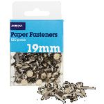 J.Burrows 19mm Paper Fasteners Silvers 120 Pack