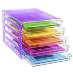 J.Burrows Desktop File Storage Organiser 5 Drawer Purple