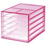 J.Burrows Desktop File Storage Organiser 5 Drawer Pink
