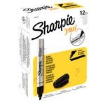 Sharpie Pro Metal Chisel Permanent Markers Black 12 Pack