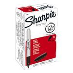 Sharpie Fine Permanent Markers Black 12 Pack