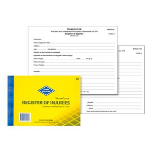 Zions Work Cover Register of Injuries NSW Book