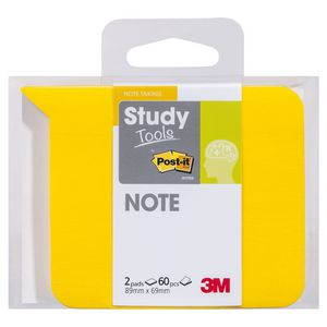 Post-it Study Tools 89 x 69mm Notes Yellow