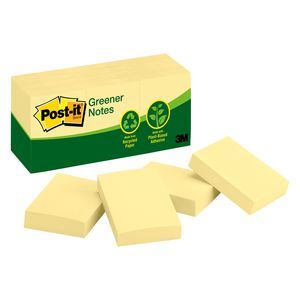 Post-it Greener Recycled Notes 35 x 48mm Yellow 12 Pack