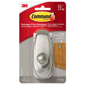 Command Timeless Hook Brushed Nickel Large
