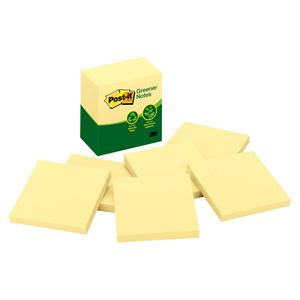 Post-it Greener Recycled Notes 76 x 76mm Yellow 6 Pack