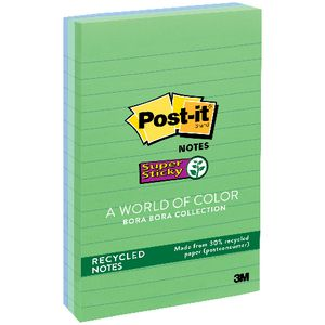Post-it Super Sticky Recycled Lined Notes Bora Bora 3 Pack