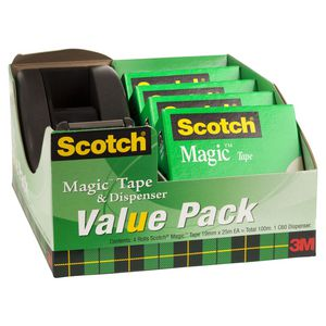 Scotch Magic Tape Dispenser C60 Black 4 Pack