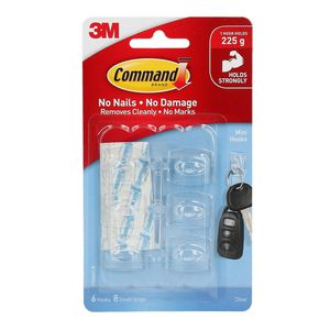 Command Mini Clear Hooks with Clear Strips 6 Pack