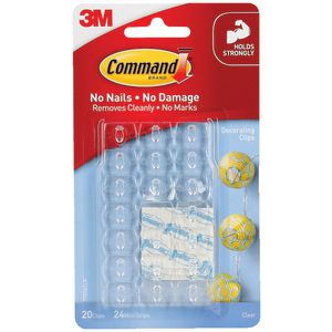 Command Clear Decorating Clips With Clear Strips 20 Pack