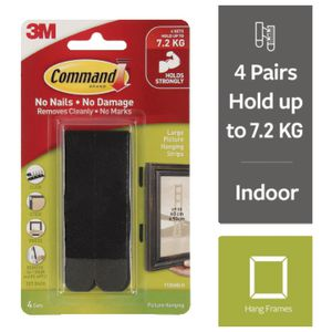 Command Large Picture Hanging Strip Black 4 Pack