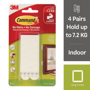 Command Large Picture Hanging Strip White 4 Pack Officeworks