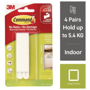 Command Narrow Picture Hanging Strip White 4 Pack