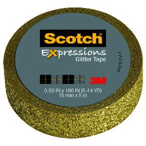Scotch Expressions Glitter Tape 15mm x 5m Gold