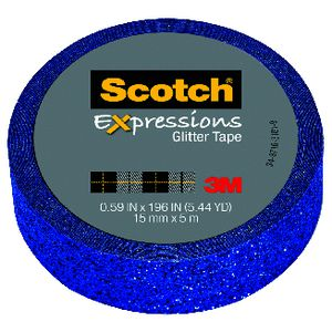 Scotch Expressions Glitter Tape 15mm x 5m Dark Blue