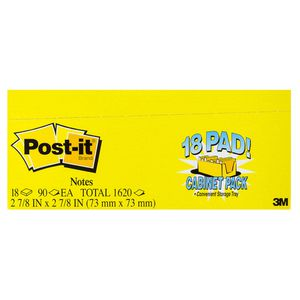 Post-it Notes 76 x 76mm Cabinet Pack Yellow 18 Pack