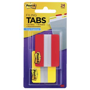 Post-it Durable Tabs 50 x 38mm Yellow/Red 2 Pack