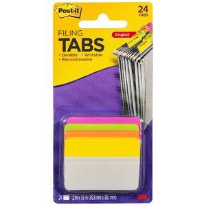 Post-it Filing Angle Tabs 50 x 38mm Assorted 4 Pack