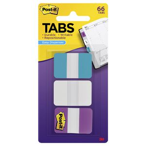 Post-it Tabs 25 x 38mm Aqua/White/Violet 3 Pack
