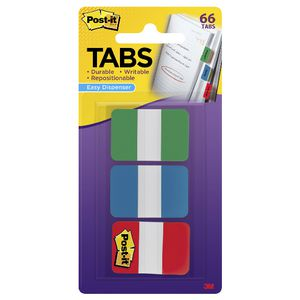 Post-it Tabs 25 x38mm Green/Blue/Red 3 Pack