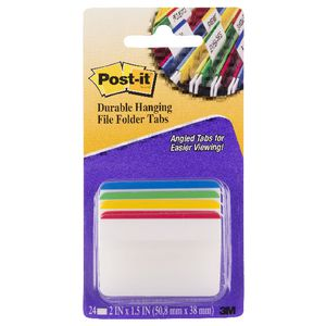 Post-it Durable Hanging File Tabs Colour Border 4 Pack