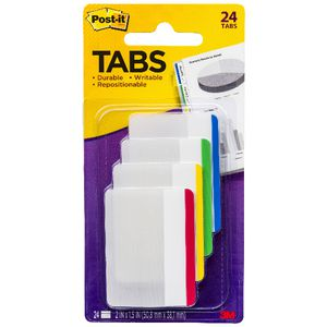Post-it Durable Large Filing Tabs Colour Border 4 Pack
