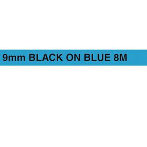 Brother Tape 9mm x 8m Black on Blue TZe-221