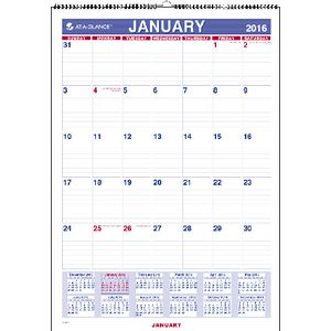 At A Glance Monthly Wall Calendar 2016 305 x 432mm
