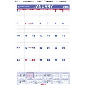 At A Glance Monthly Wall Calendar 2016 394 x 578mm