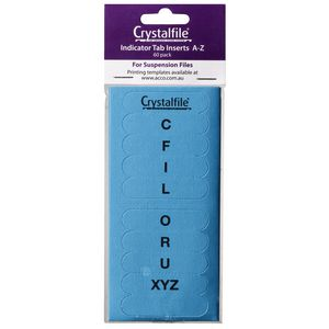 Crystalfile Indicator Tab Inserts A-Z Blue 60 Pack