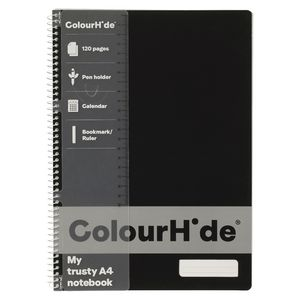 ColourHide My Trusty A4 Notebook 120 Page Fluoro Black