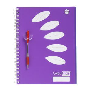 ColourHide A4 5 Subject Notebook 250 Page Purple