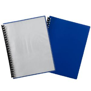 Marbig A4 Refillable Display Book 20 Pocket Clear Cover Blue