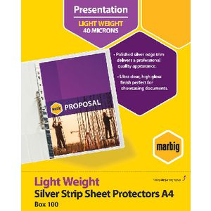 Marbig A4 Light Weight Sheet Protector Silver Edge 100 Pack